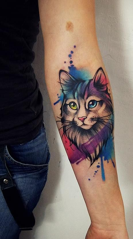 Watercolor Tattoos Will Turn Your Body Into A Living Canvas Cat