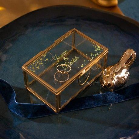 Szkatulka Szklana Na Obraczki Prostokatna Kolekcja Granatowa Zlota Z Imionami Gold Bracelet Jewelry Gold