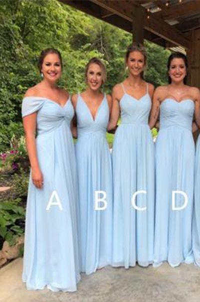 Light Blue Chiffon Bridesmaid Dresses Cheap Long Bridesmaid Dresses B27 From Tidedress Light Blue Bridesmaid Baby Blue Bridesmaid Dresses Light Blue Bridesmaid Dresses