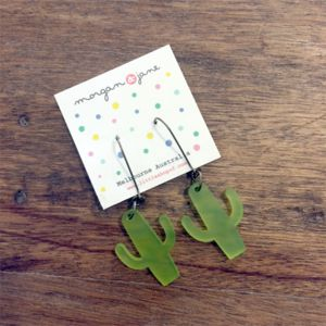 GOLDEN!!!  I NEED THESE Fun frosted chartreuse laser cut cactus silhouette on a 25mm vintage bronze tone kidney wires.Handmade in Little Shops Melbourne studio.Cactus approx 3cm Tall x 2.5cm wideNickel and Lead Free