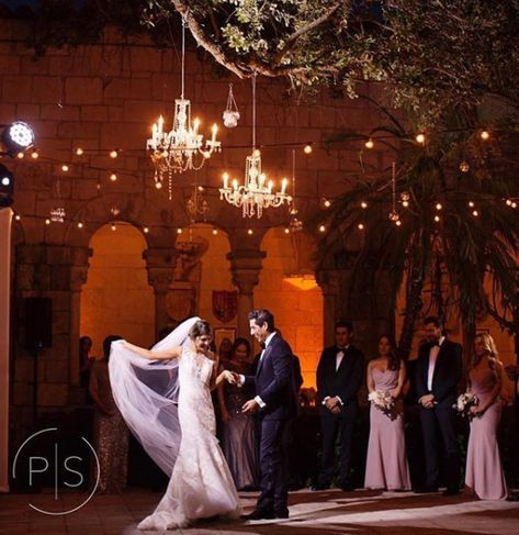 Bistro lights and chandeliers, beautiful outdoor reception installation. Contact borrowmivintage@live.com for rentals. #mivintage #vintagerentalsmiami #vintagerentals #bistrolights #bistrolightsmiami #chandelier #reception #chandelierinstallation #romanticbride #receptiondecor #romanticwedding #modernvintage #miamibride #love #spanishmonastery #ancientspanishmonastery #ido #wedding #miamiwedding #brideandgroom #engaged #brideandgroomphotos #firstdance #engagedmiami