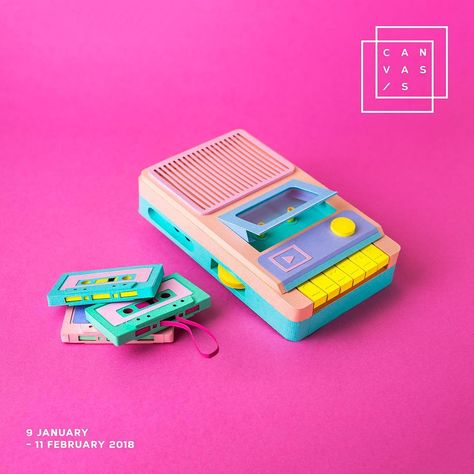 Technicolor Miniatures of Everyday Life Handcrafted in Paper - Cassette Player