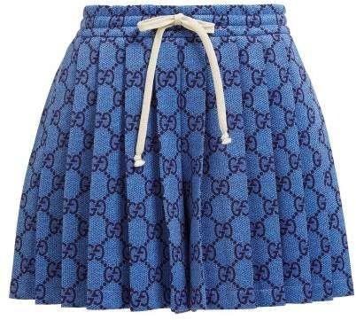 0907d9e8 Gucci Gg Pleated Technical Jersey Shorts - Womens - Light ...