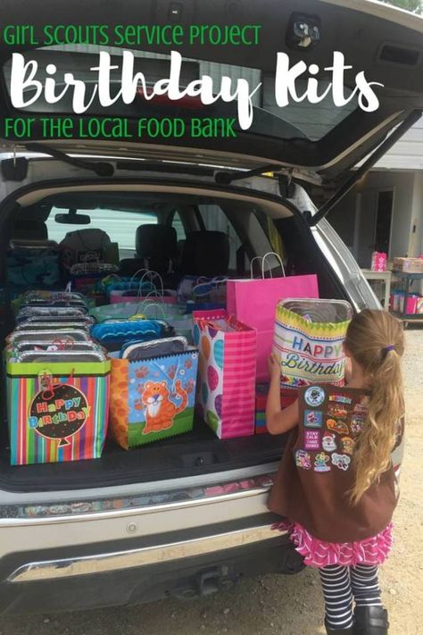 Need a great girl scout or brownie troop service project idea? How about birthday kits donated to the local food bank. Scout Mom, Girl Scout Swap, Daisy Girl Scouts, Girl Scout Leader, Girl Scout Troop, Girl Scout Brownie Badges, Brownie Girl Scouts, Girl Scout Cookies, Cadette Girl Scout Badges