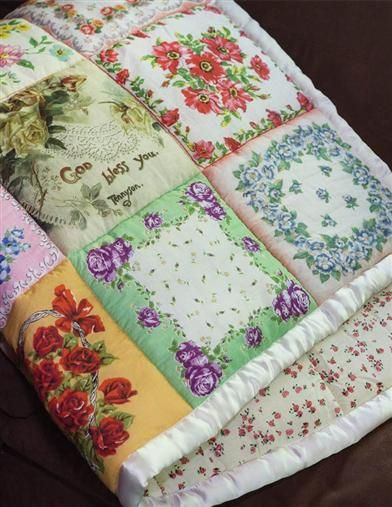 Handkerchief Puff Quilt Throw Vintage Hankie Quilt is part of Puff quilt - Stitched cloths bind a medley of patterns and reveries of time gone by Puff Quilt, Rag Quilt, Scrappy Quilts, Baby Quilts, Quilt Blocks, Pink Quilts, Old Quilts, Star Quilts, Quilting Projects