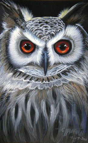 X Watercolor and Gouache on Black Paper of an Owl asking