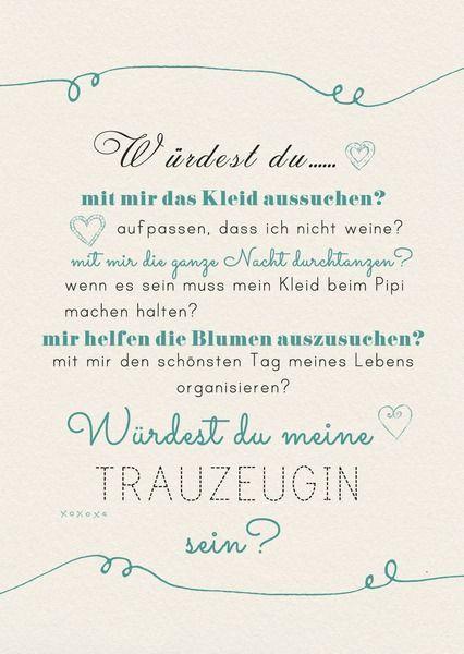 Möchtest du deine Freundin die Fragen aller Fragen stellen: ob SIE deine Brautjungfer/Treuzeugin werden möchte? Kein Problem bei FrauZauberstift findest du niedliche Postkarten mit tollen...