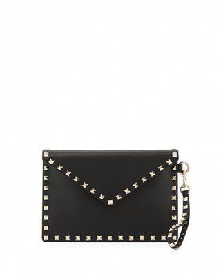 864f03b30 Valentino Garavani Rockstud Medium Leather Flat Clutch Bag ...