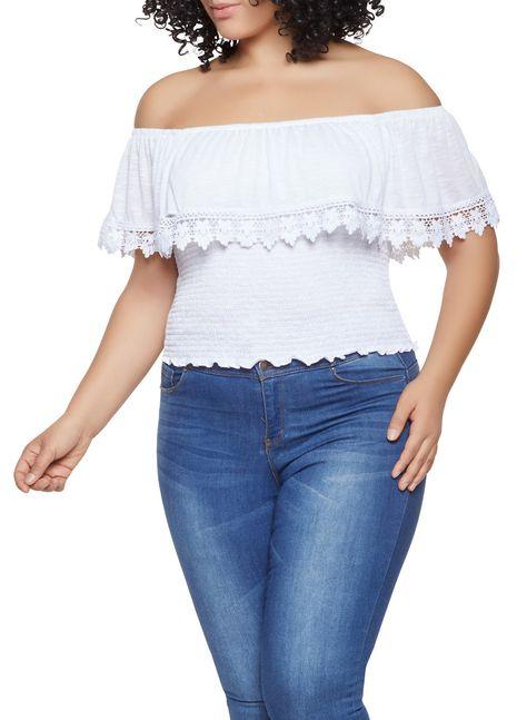 0696dee19d4b8 Plus Size Off the Shoulder Crochet Trim Top - WHITE - Size 1X