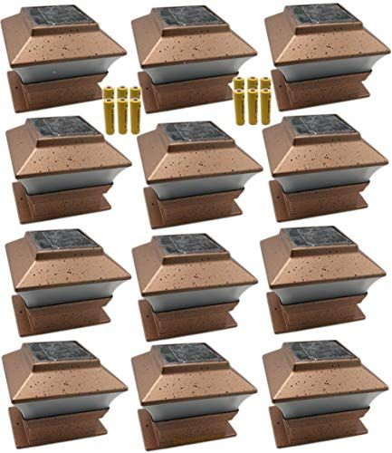 Amazing Offer On 12 Pack Outdoor Garden Solar Led Copper Post Cap Fence Pathway Landscape Deck Square Light Lights Free Bonus 12 Pack Aa 600 Mah Replacement R In 2020 Pathway
