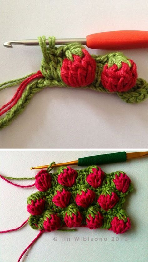 Crochet Afghans Ideas Strawberry Stitch Crochet Pattern Tutorial - Continuing the marathon of free stitch crochet patterns, today I want to show you the a unique stitch. It's called strawberry stitch and you'll love it! Crochet Diy, Crochet Simple, Stitch Crochet, Crochet Amigurumi, Crochet Crafts, Crochet Projects, Tutorial Crochet, Sewing Projects, Crochet Tutorials