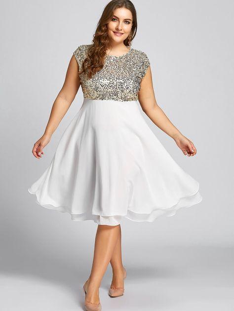 Abiti Eleganti Taglia 48 50.Flounce Plus Size Dress Sequin Sparkly Dress With Images