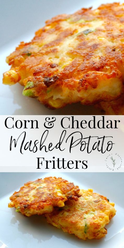 Utilize leftover corn and mashed potatoes to create a new tasty side dish with these Corn & Cheddar Mashed Potato Fritters. Utilize leftover corn and mashed potatoes to create a new tasty side dish with these Corn & Cheddar Mashed Potato Fritters. Potato Sides, Potato Side Dishes, Dinner Side Dishes, Simple Side Dishes, Chicken Side Dishes, Cheap Side Dishes, Best Side Dishes, Main Dishes, Queso Cheddar