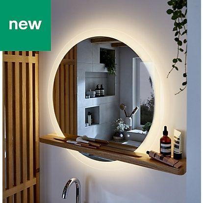 Goodhome Adriska Illuminated Round Bathroom Mirror With Shelf W 800mm H 25mm Round Mirror Bathroom Bathroom Mirror Bathroom Mirror With Shelf