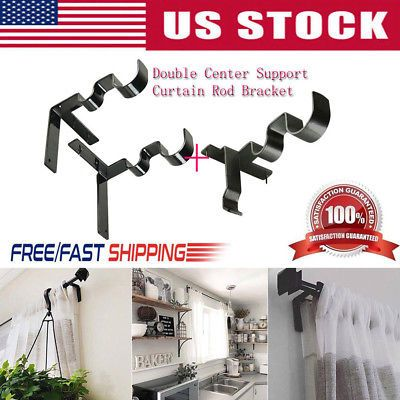 Details About Double Hang Curtain Rod Holders Tap Right Window