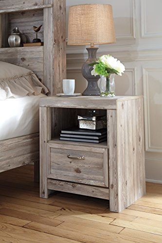 Williberry Casual Weathered Beige Color Wood One Drawer Night Stand Furniture Bedroom Night Stands Ashley Furniture