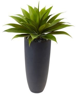 Nearly Natural 38 Agave Artificial Plant In Gray Cylinder Planter Green Artificialplants Small Artificial Plants Artificial Plants Artificial Plants Indoor