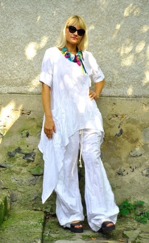 Oversize summer top and pants/White 100% linen SET/Casual Top Pants Set/Loose tunic/Maxi tunic/White linen pants/Oversize set/Handmade/P1493
