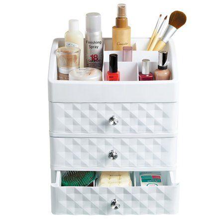 Collections Etc Plastic Makeup Organizer White Walmart Com Makeup Storage Organization Bathroom Organisation Makeup Storage