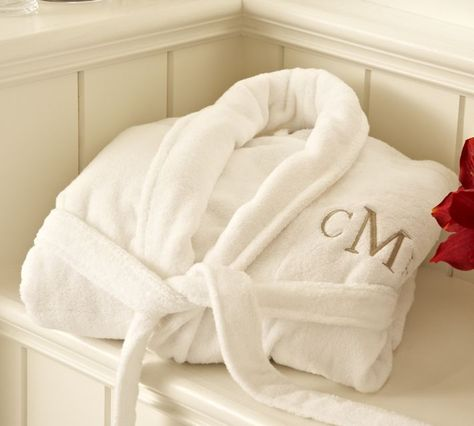 a6498e7fdce Pottery Barn monogrammed terry bath robes are the coziest! I bought these  as wedding gifts for my husband and myself and 5.5 years later they are  still soft ...