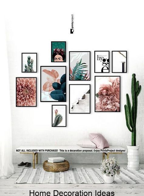 Blush Pink Leaves, Above Bed Wall Art, Wedding Gift, Blue Plant Print, Botanical..., #