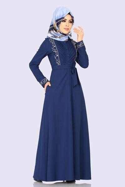 Modaselvim Elbise Nakisli Elbise Ferace 2143ms212 Indigo Fashion Dresses Hijab