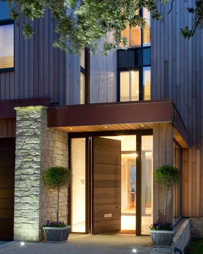 Urban Front contemporary wooden front door with glass side panels || 12 : rondo e80 pivot in wenge - option 7 handles