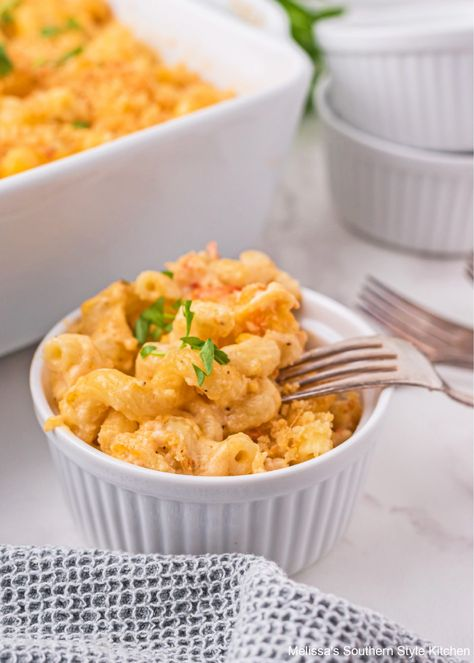 Lobster Mac and Cheese elevates mac and cheese to entree status #lobsterrecipes #lobstermacandcheese #macaroniandcheese #seafoodrecipes #dinnerideas #dinner #southernfood #southernrecipes #lobster #lobsterpastarecipes #southernmacaroniandcheese