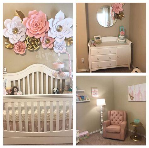 Nursery Decor, Paper Flowers, Home Decor | Nursery Set Up, Baby Decor, Flower Nursery Decor