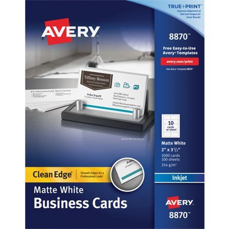 Avery Clean Edge Business Cards True Print Matte Two Sided Printing 2 X 3 1 2 1 000 Cards 8870 Walmart Com Avery Business Cards Printable Business Cards Avery Printable