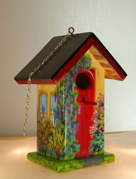 A Little Bit Twisted Birdhouse , Beige and Red , Handcrafted , Hand Painted , with Clean Out by BirdhouseBlessings on Etsy