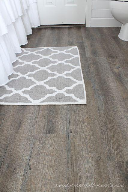 Simply Beautiful By Angela Updated Peel Sick Wood Look Floors Tutorial Peel And Stick Floor Flooring Bathroom Makeover