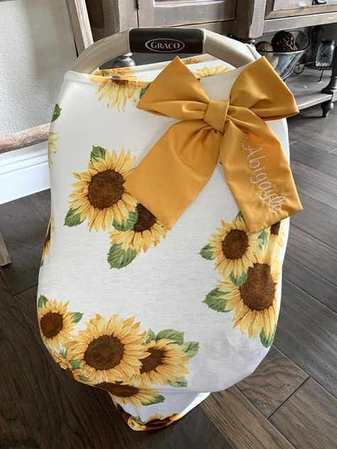 Stretchy Baby Car Seat Cover - Sunflowers and Floral - Baby Girl - Nursing and Shopping Cart Cover Baby Girl Car Seats, Baby Boy Carseat Covers, Sunflower Nursery, Baby Shower Gifts, Baby Gifts, Baby Cover, Future Baby, Baby Items, New Baby Products
