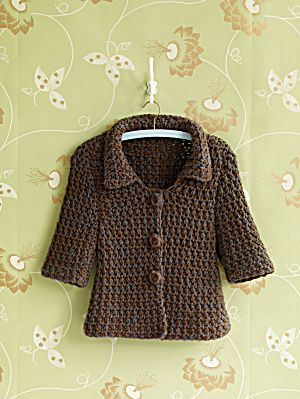 Free Crochet pattern for a cute jacket! I love its shape!