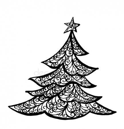 Christmas Tree Illustration Drawing Ink Line Art Vector Stock Vector Tree Line Drawing Hand Sketch Tree Illustration