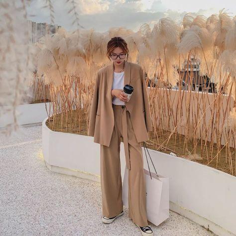 Tie Button Waist Blazer and Wide Leg Trousers 2 Piece Set | Korean Fashion Top and Bottom Set Women Suits Jacket Pants Chic Style