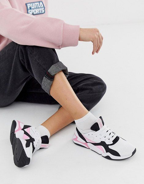 Puma Nova 90's Block White And Pink Sneakers in 2020   Pink ...