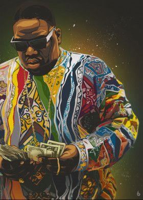 Biggie Poster Print By Art By Bikonatics Displate Biggie Smalls Art Rapper Art Hip Hop Art