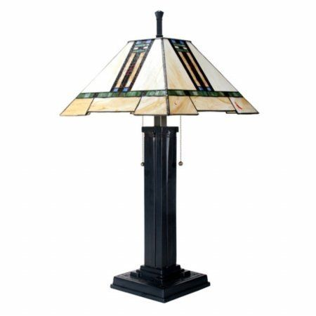 26 Inch Stained Glass Pattern Shade Mission Lamp With Black Base Visit The Image Link More Details This Is An Affi Mission Lamp Craftsman Style Table Lamp