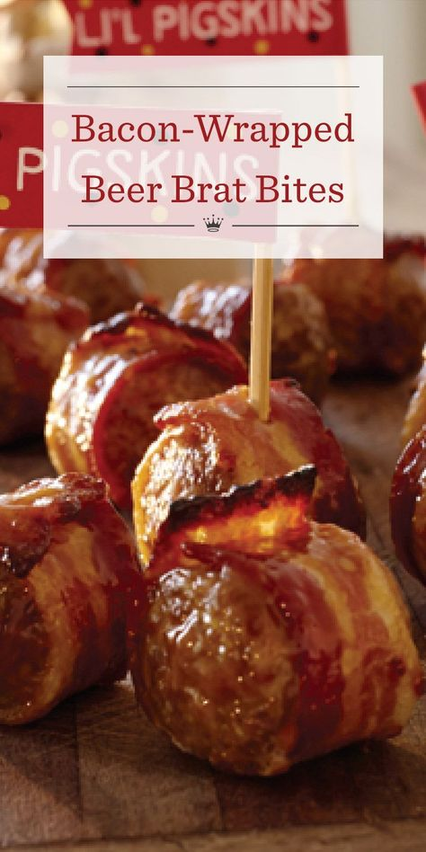 Bacon-wrapped beer brat bites Bratwurst is simmered in beer, cut into bite-sized pieces, wrapped in bacon, then glazed with a sweet and spicy sauce to create crowd-pleasing appetizers. Recipe includes football-themed printables perfect for decking out the Appetizers For A Crowd, Bacon Appetizers, Appetizer Recipes, German Appetizers, Game Day Appetizers, Beer Brats, Bacon Beer, Beer Bratwurst, Sweet And Spicy Sauce