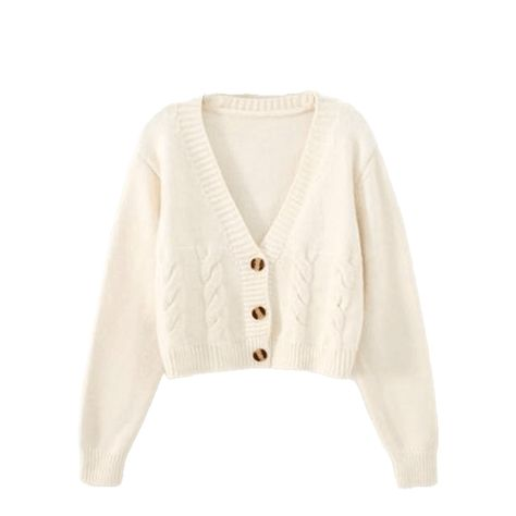Women's Cable Knit Crop Cardigan - White / M