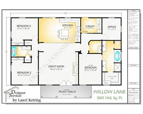 Willow Lane House Plan 1664 Square Feet Gable Roof Option Etsy Pole Barn House Plans Open Concept Floor Plans House Floor Plans