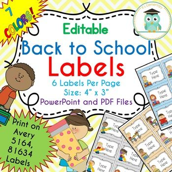 BACK TO SCHOOL Labels Editable Classroom Notebook Folder