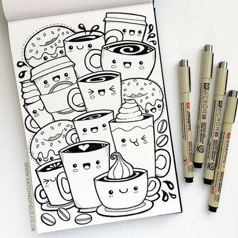 Kawaii coffee sketchbook drawing for Draw a Week challenge by Kate Hadfield! Kawaii art sketchbook