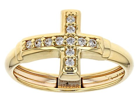 Pre Owned Bella Luce 0 11 Ctw 10k Yellow Gold Horizontal Cross