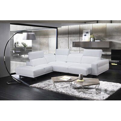 Orren Ellis Paulk Leather Sleeper Sectional Upholstery Color Snow White Orientation Left Hand Facing In 2020 With Images Furniture Sectional Sleeper Sectional