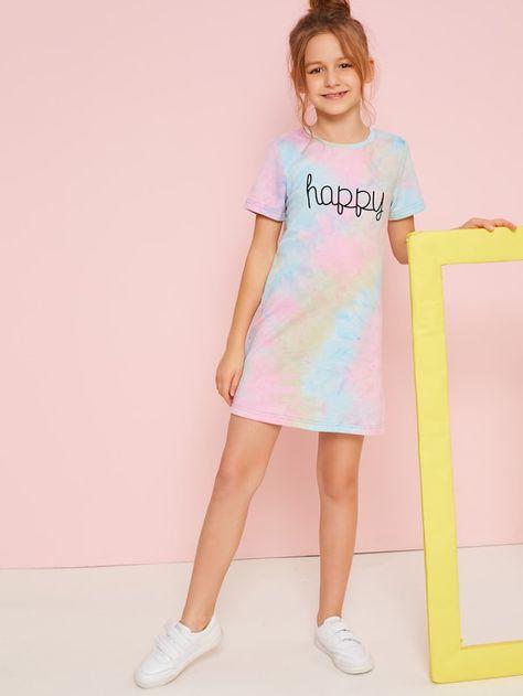Girls Letter Print Tie Dye Dress | SHEIN