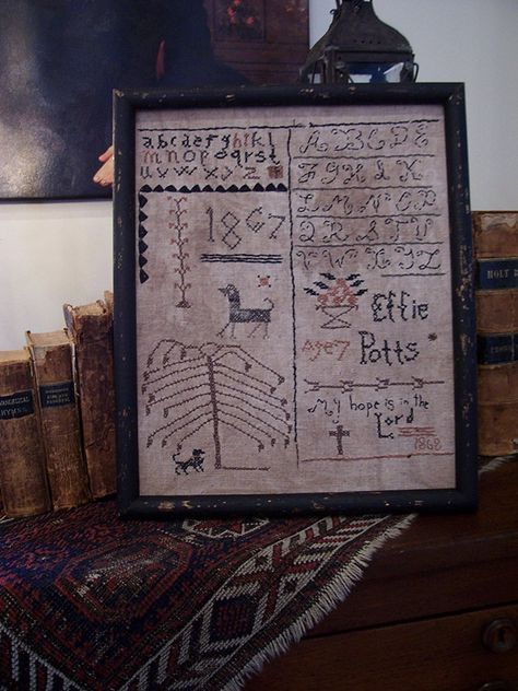 Effie Pott's School girl sampler ..stitched by Linda Babb Seller name on Ebay: theprimitivestitcher