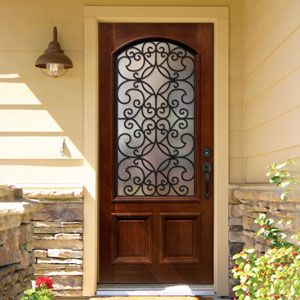Mahogany Trinity Single Door Arch Top W Iron 1 2 1 4 Thick Iron Doors Modern Contemporary Garage Doors Home Door Design