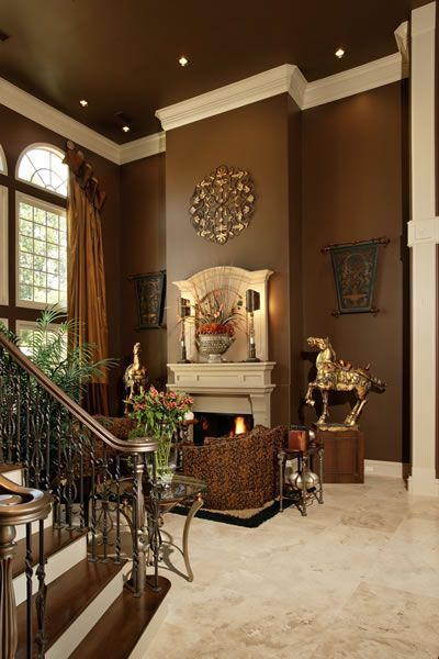 Brown Living Room Design 2 story livingroom decorating - google search | fireplaces